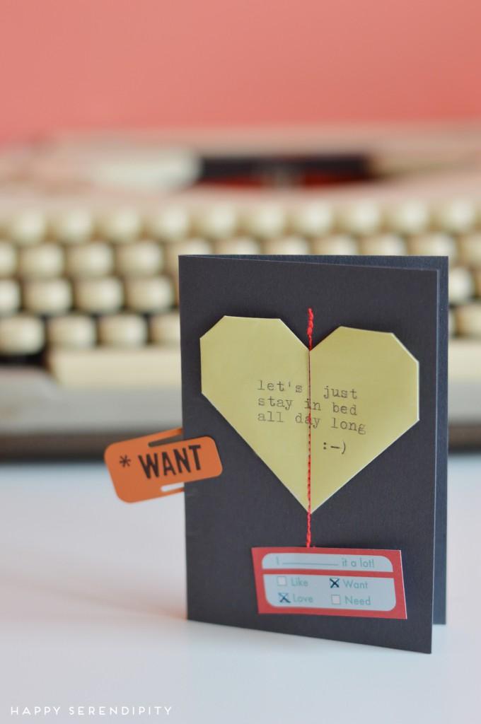 origami heart valentine card