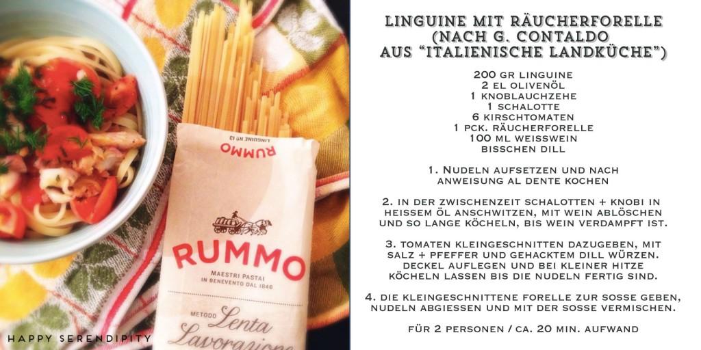 spaghetti mit räucherforelle, gekocht von happy serendipity, pasta rezept