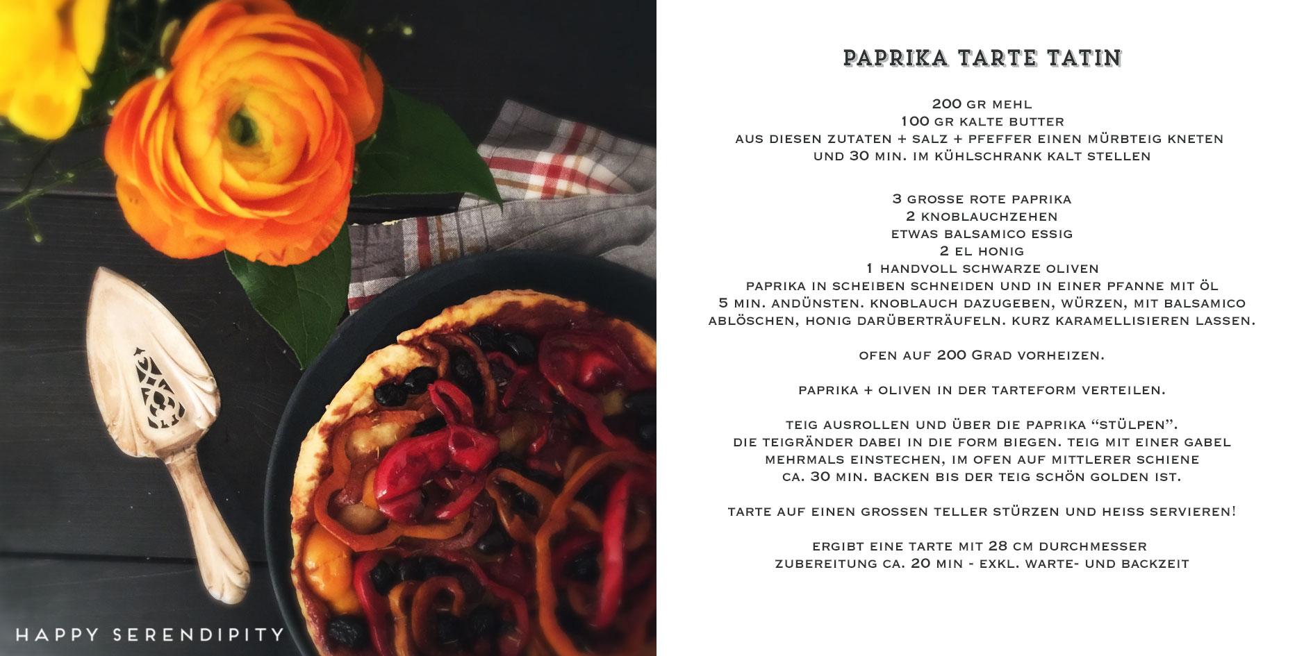 happy serendipity kocht veggie, rezept paprika tarte tatin
