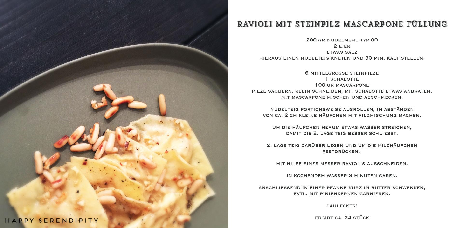 happy serendipity kocht veggie, rezept ravioli mit steinpilz mascarpone füllung
