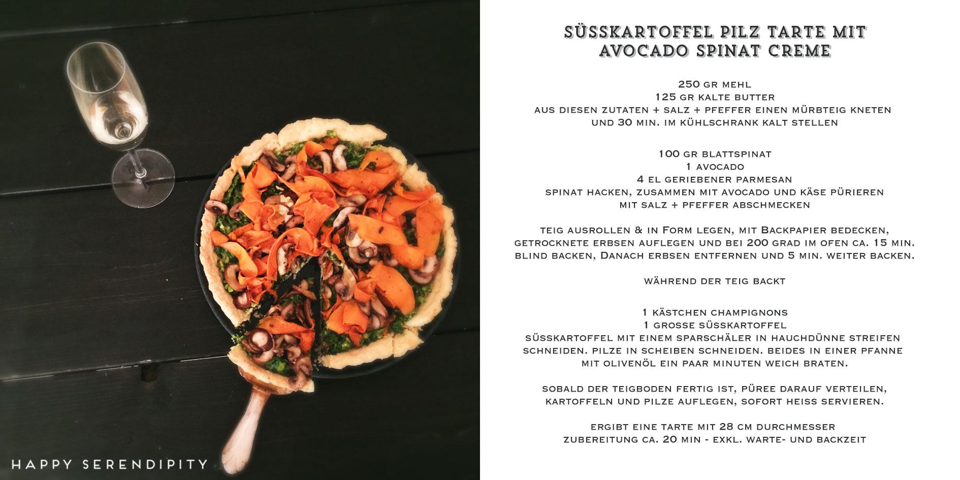 happy serendipity kocht veggie, rezept süßkartoffel pilz tarte mit avocado spinat creme