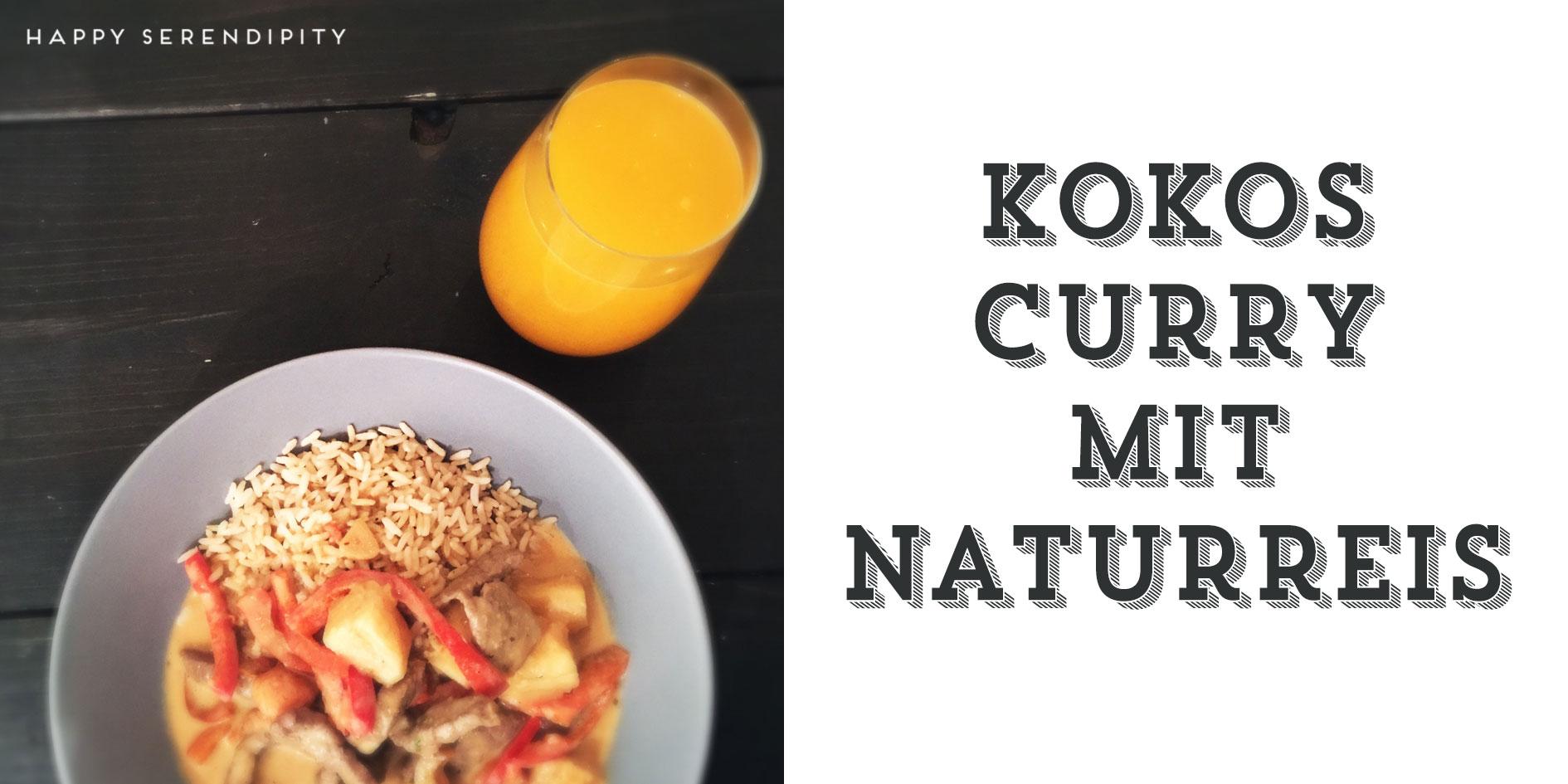 kokos curry mit naturreis, happy serendipity lecker und vielseitige rezepte