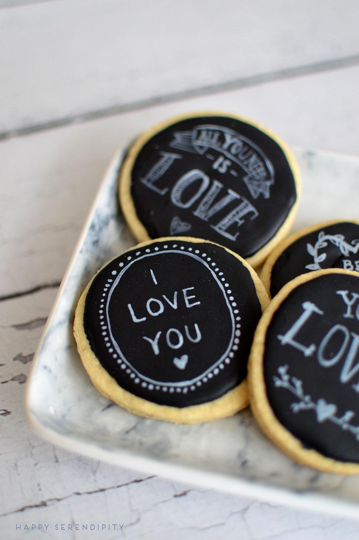 black royal icing and white sugarflair powder make beautiful chalkboard cookies | www.happyserendipity.com