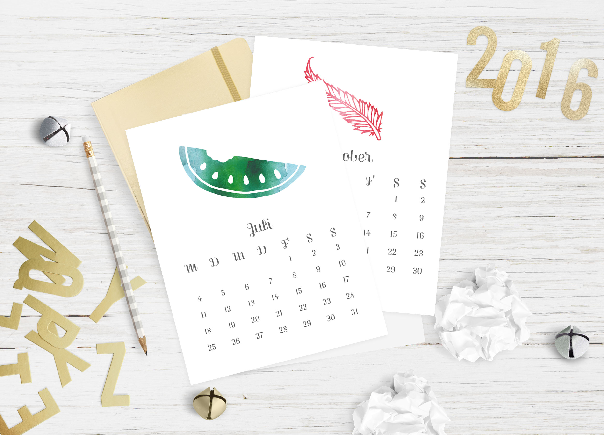 kostenloser digital download, kalender 2016, happy serendipity freebie kalender 2016