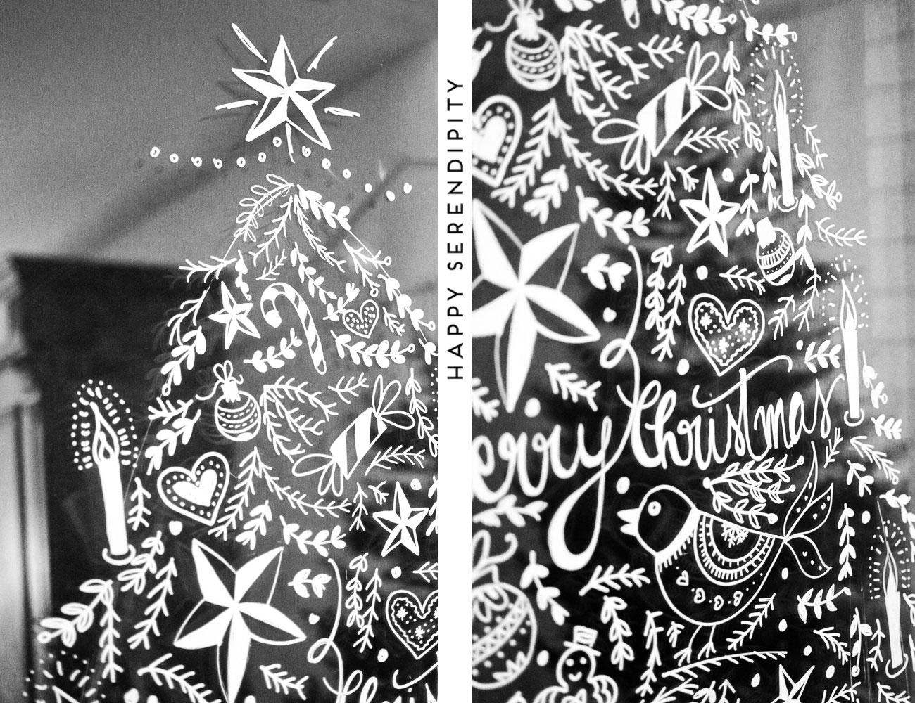 diy weihnachtliche fensterdeko mit kreidemarker, jeder kann malen, step-by-step tutorial gefunden auf happyserendipity.com