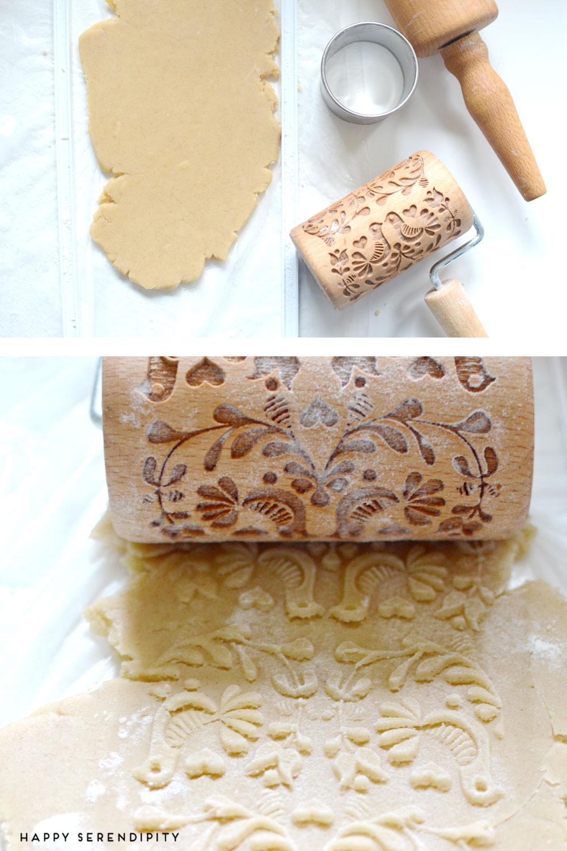 backrezept für leckere plätzchen mit schoko-lebkuchenfüllung, hübsch gewaltzt mit einem gemusterten nudelholz