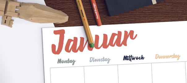 der 2017 kalender für eure notizen
