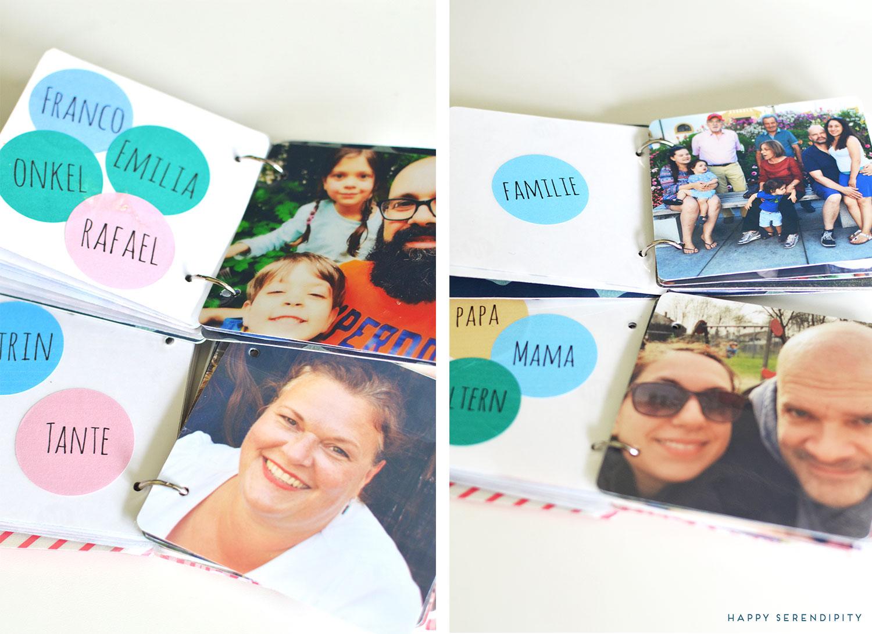happy serendipity, das unkaputtbare kinderbuch mit familienbildern und wörtern zum lernen, ein diy mit dem iLam von leitz
