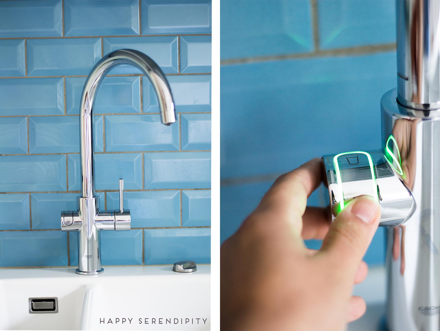 Das Grohe Blue Home System liefert gekühltes und gefiltertes Wasser direkt aus dem Wasserhahn; auf Wunsch auch mit Sprudel