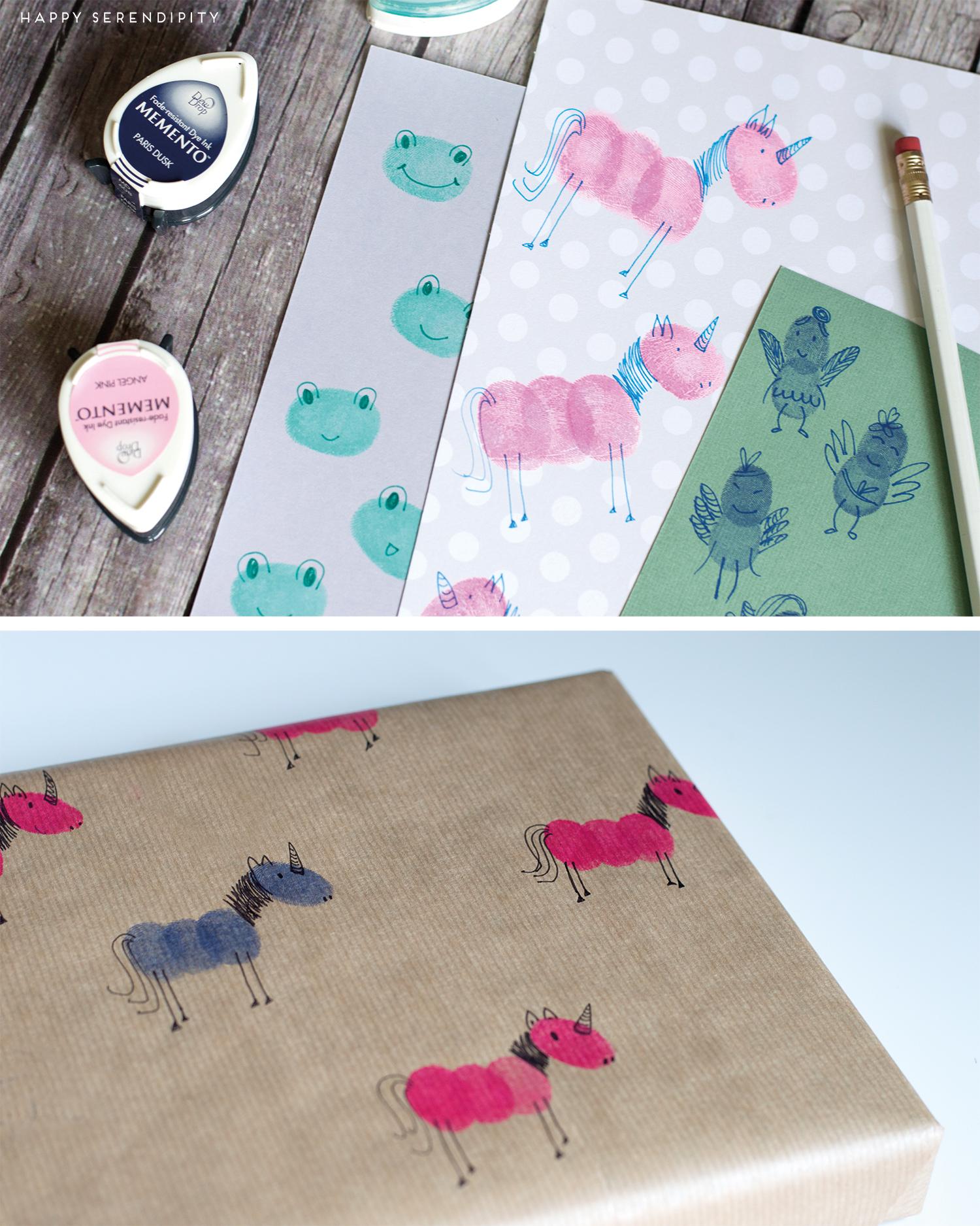 geschenkpapier aus lustigen kreaturen aus fingerabdrücken