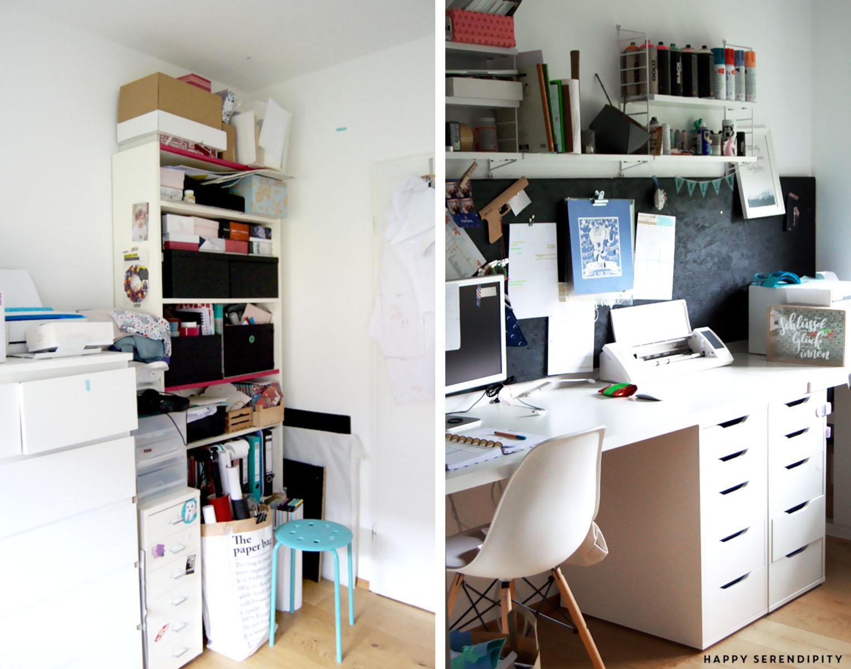 Endlich Ordnung im Arbeitszimmer; das Happy Serendipity Büro Vorher