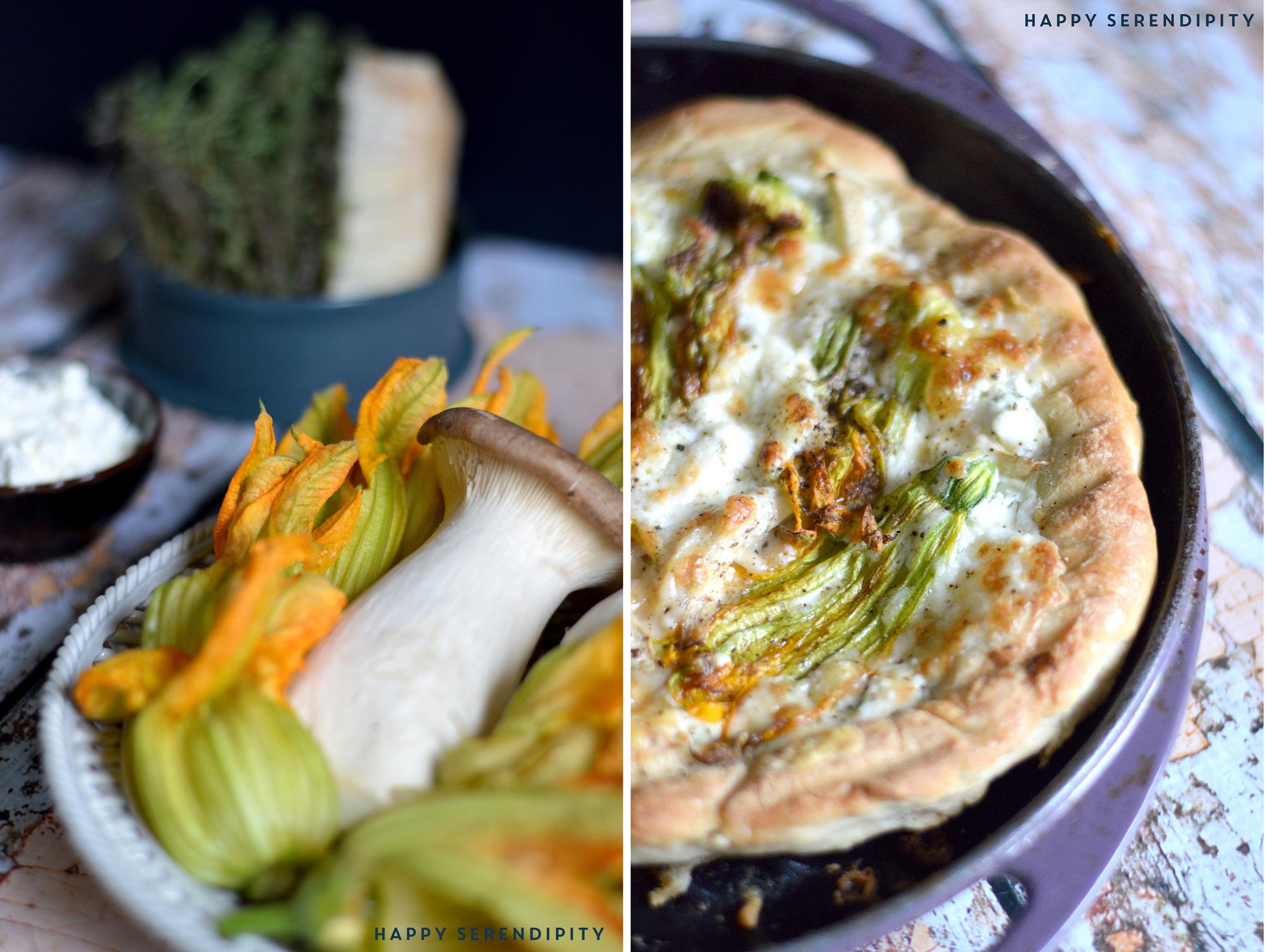 eine tarte mit zucchiniblüten, maskarpone, parmesan und kräuterseitlingen - ein köstliches rezept von happy serendipity