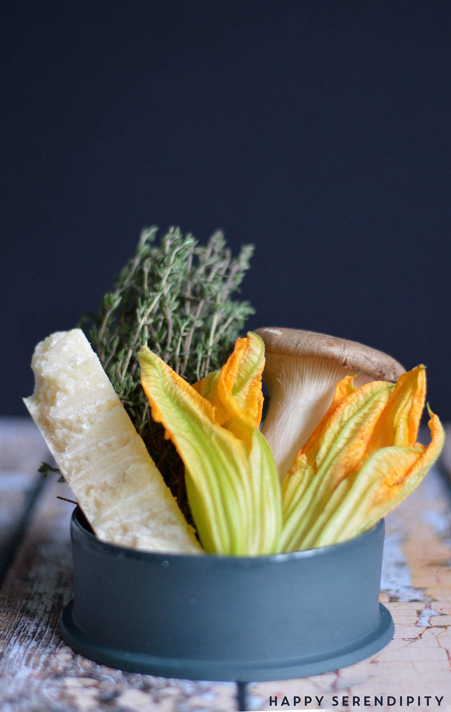 herbstliche zutaten für eine herrliche tarte mit zucchiniblüten, ein rezept von happy serendipity