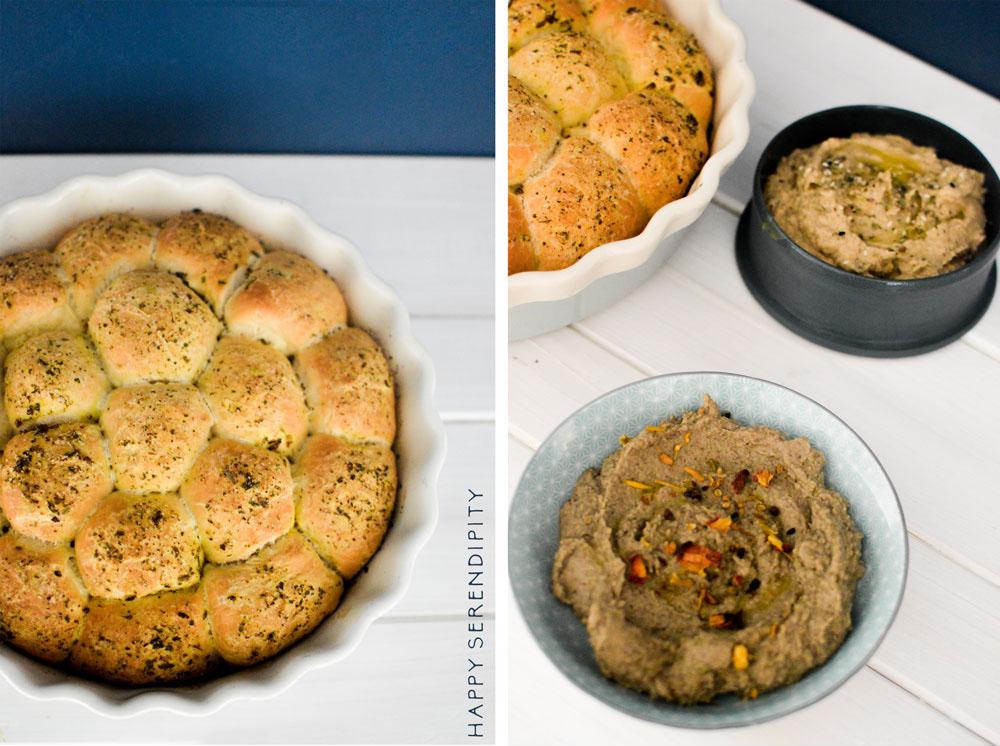 Soulfood Kräuterbrot mit zweierlei Gemüsedips - ein Rezept von Happy Serendipity