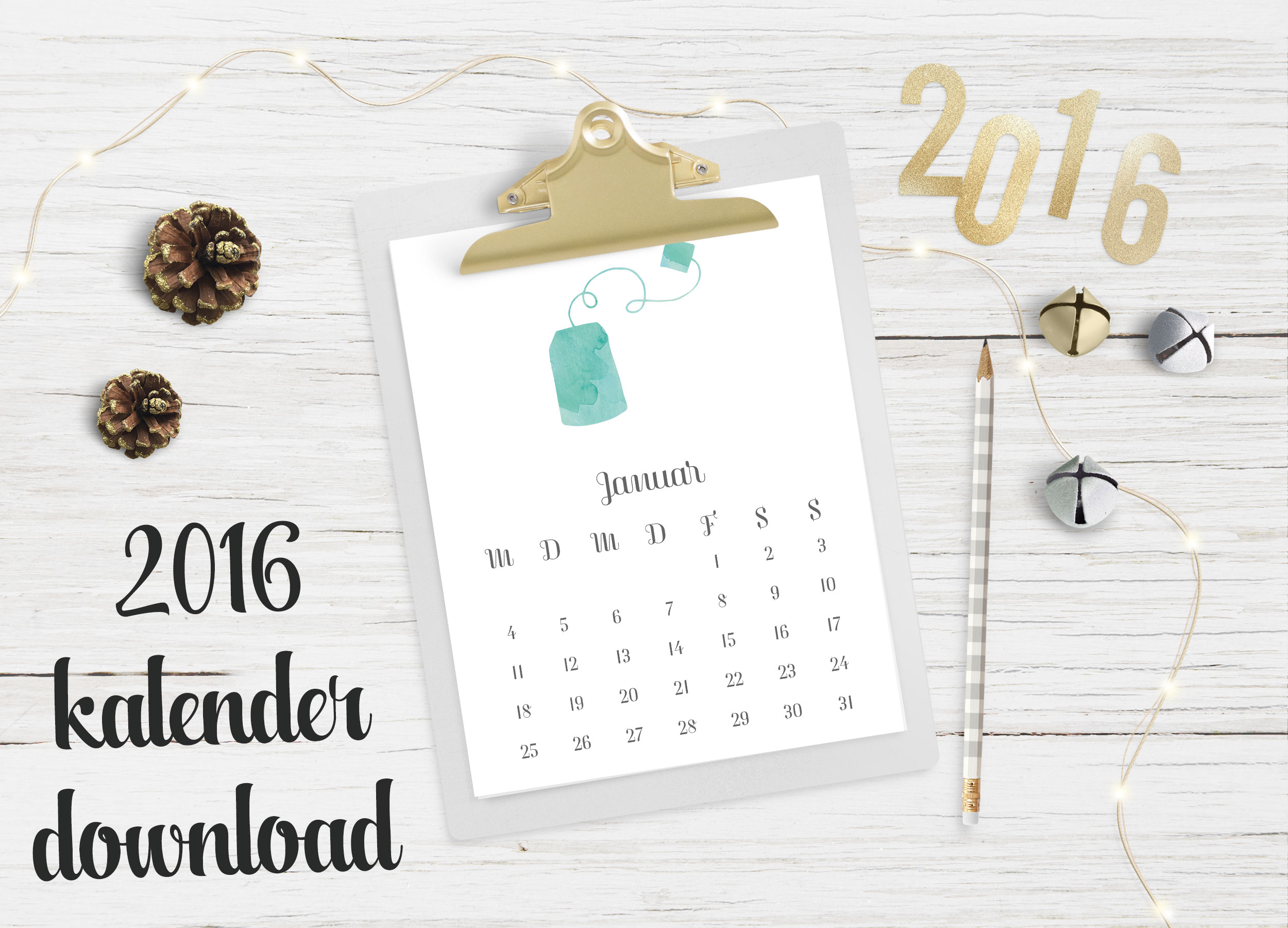 kostenloser digital download, kalender 2016, happy serendipity freebie kalender 2016